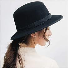 2019 Women 100% Wool Hat Women's Fedora Female Black Flat Pig Bristle Wild Flat Cap Jazz Cap Art Hat Dome Hat Size 56-58CM (Color : Black, Size : 56-58CM)