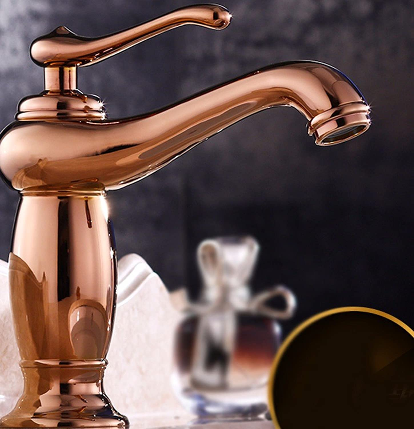Hlluya Professional Sink Mixer Tap Kitchen Faucet Hot and cold, full of copper, washbasin, redate, single handle single hole sink faucet,I