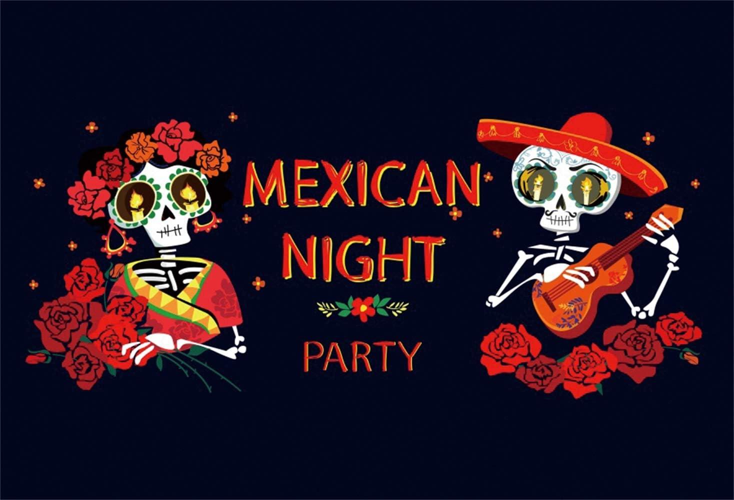 Leowefowa 15x8ft Day of The Dead Backdrop Dia De Los Muertos Photography Background Cartoon Orgiastic Dancing Mexican Skeletons Skulls Flowers Illustration Fiesta Carnival Party Banner Wallpaper
