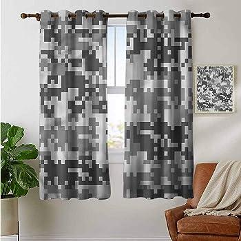 Lewis Coleridge Blackout Curtains Camouflage,Grunge Star on Green,for Bedroom,Nursery,Living Room 54x84