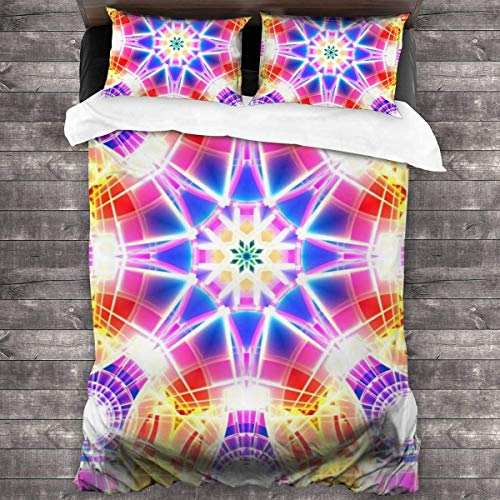 Beautiful Mandala Design Duvet Cover Set, Soft 100% Microfiber Bedding Set for Women Men Boys and Girls Bedroom Decoration 3 Pieces Bed Set(1 Duvet Cover 2 Pillowcase)