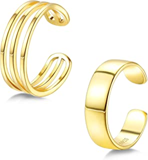 PATISORNA 2 Pcs 925 Sterling Silver Open Rings set for Women men Knuckle Stackable Rings Ajustable Wide Band Line Rings