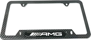 Mesport Carbon Fiber Style Stainless Steel Rust Free AMG License Plate Cover Frames Holder with Screw Caps for Mercedes Benz (1)