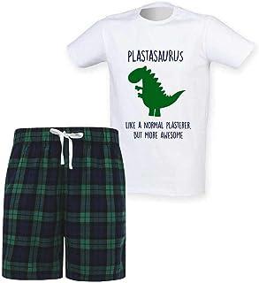 60 Second Makeover Limited Mens Plasterer Dinosaur Christmas Tartan Short Pyjama Set Family Matching Twinning