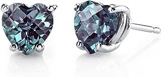 14 Karat White Gold Heart Shape 2.00 Carats Created Alexandrite Stud Earrings
