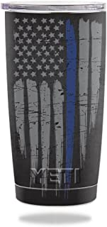 MightySkins Skin Compatible with Yeti 20 oz Tumbler - Thin Blue Line   Protective, Durable, and Unique Vinyl Decal wrap Cover   Easy to Apply, Remove, and Change Styles   Made in The USA