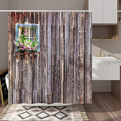 DESIHOM Country Shower Curtain 72x72 Inch Rustic Shower Curtain Wooden Shower Curtain Primitive Barn Door Shower Curtain Farmhouse Outhouse Shower Curtain Polyester Waterproof Shower Curtain
