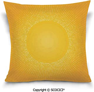 SCOCICI Square Printed Soft Cotton Throw Pillow Cover Moden Image of The Sun with Sunshine in Cool Circle Pixels Art Pillows Case Couch Pillowcase