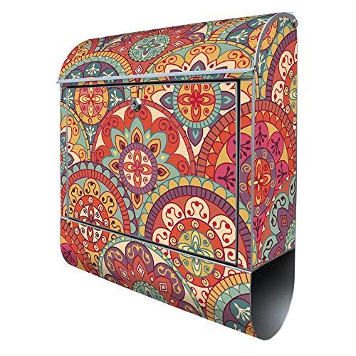 Banjado Design Briefkasten mit Motiv Rosetten | Stahl pulverbeschichtet mit Zeitungsrolle | Größe 38x47x14cm, 2 Schlüssel, A4 Einwurf, inkl. Montagematerial
