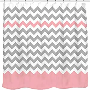 Sunlit Zigzag Pink and Grey White Chevron Shower Curtain, Geometric Print Zig Zag Pattern Lines and Contemporary Stripes Modern Design Fabric Bathroom Decor with Futuristic Light Color Block