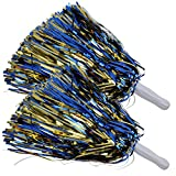 ICObuty Metallic Cheerleading Pom Poms Foil Fluffy 12 inch 2 Pack NO Sheddingfor Sport Squads Dance Hen Party Stage Performance Celebration (Royal Blue/Gold)