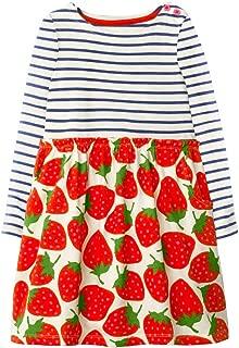 Long Sleeve Print Cotton Cute Cartoon Dress for Girls Casual Stripe Fall Winter Dresses Size 18M-6t