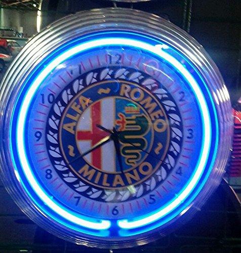Horloge néon Old Alfa Roméo Milano - Bleu fluo - Horloge murale d'atelier - Plaque néon - Style années 50