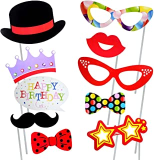 Photo Booth Props for Birthday Party, Party Favors, Dress-up Costume Accessories