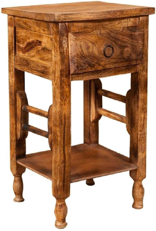 Biscottini Soild Wood Made Shabby Walnut Finish W31xDP28xH55 cm Sized Coffee Bedside Table