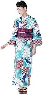 [ KIMONOMACHI ] Girly 女性用浴衣 吸汗速乾 ポリエステル浴衣 15柄