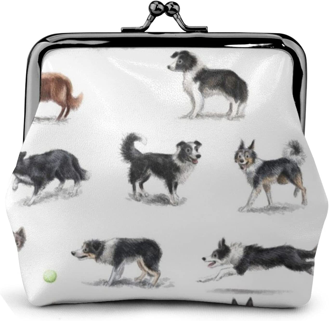 Border Collies V03 883 Women'S Wallet Buckle Coin Purses Pouch Kiss-lock Change Travel Makeup Wallets, Black, One Size