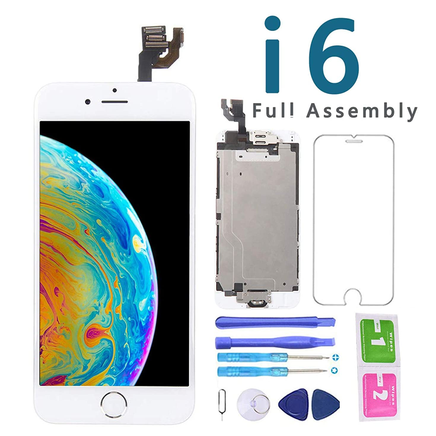 Screen Replacement for iPhone 6 White 4.7 Inch LCD Display Touch Digitizer Full Assembly Repair Kit, with Home Button, Proximity Sensor, Earpiece, Front Camera, Screen Protector, Repair Tools