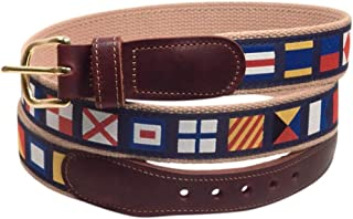 Preston Leather Men's Ribbon Belt with Leather tabs and brass buckle