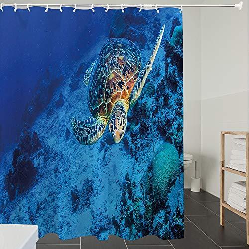 Duschvorhänge, Textil Bad Vorhang aus Polyester, Anti-Schimmel, Turtle, Oceanic Wildlife Themed Foto von Meeresschildkröte in Deep Blue Waters Ko,Blickdicht, Wasserdicht, Waschbar, 120X180CM