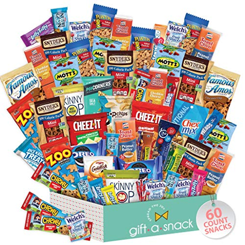 Snack Box Variety Pack (60 Count) Candy Gift Basket - College Student Care Package, Prime Food Arrangement Chips, Cookies, Bars - Ultimate Birthday Treat for Women, Men, Adults, Teens, Kids