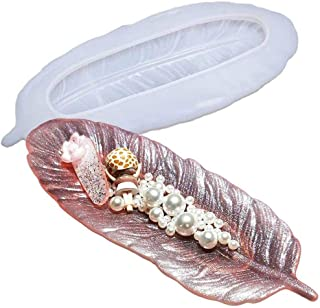 Feather Shaped Resin Mold Silicone Resin Tray Mould Art Craft Casting Molds for Making Ring Organization Jewelry Trinket T...