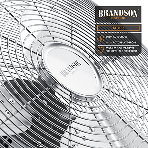 Brandson – Windmaschine Retro Stil 120 Watt | Ventilator in Chrom | Standventilator 50cm | Bodenventilator | hoher Luftdurchsatz | stufenlos neigbarer Ventilatorkopf | silber Bild 3*