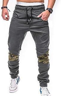 2c4615b55b SOMTHRON Homme Ceinture élastique à long coton Jogging pantalons de  survêtement Plus la taille Mode Sport