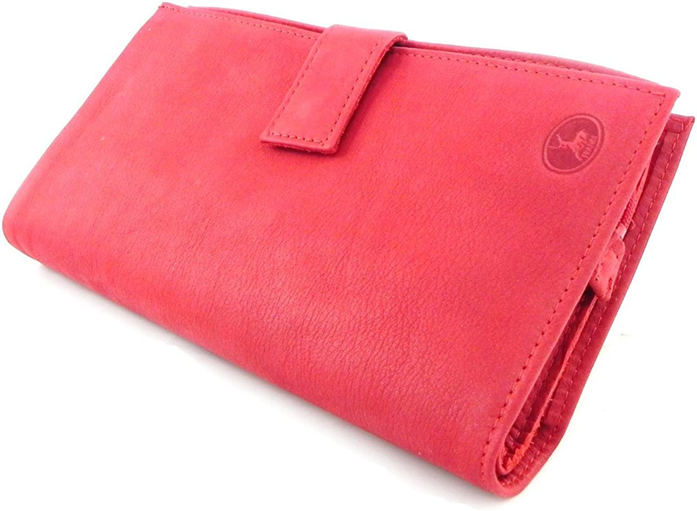Frandi [H6437]  Wallet + checkbook holder leather 'Frandi' red nubuck.