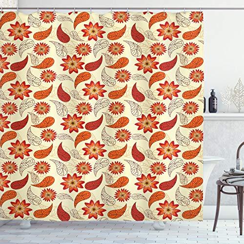 ABAKUHAUS Orange Duschvorhang, Red Retro Mohnblumen-Blumen, Trendiger Druck Stoff mit 12 Ringen Farbfest Bakterie & Wasser Abweichent, 175 x 200 cm, Orange Roter Pfirsich