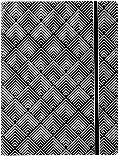 Filofax B115067U Nachfüllbares Notizbuch, A5, 112 linierte bewegliche Seiten Inkl. 4 Indexen (eins mit Tasche), Lesezeichen und Gummibandverschluss, Schwarz und Weiß