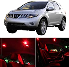 SCITOO Fits For Nissan Murano 2009-2014 Interior LED Light 14 Pcs Red Package Kit Replacement Bulbs