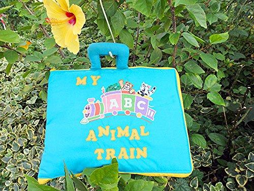 布絵本 ABC  MY ABC ANIMAL TRAIN ブルー 刺しゅう入りABC英語バッグ  知育