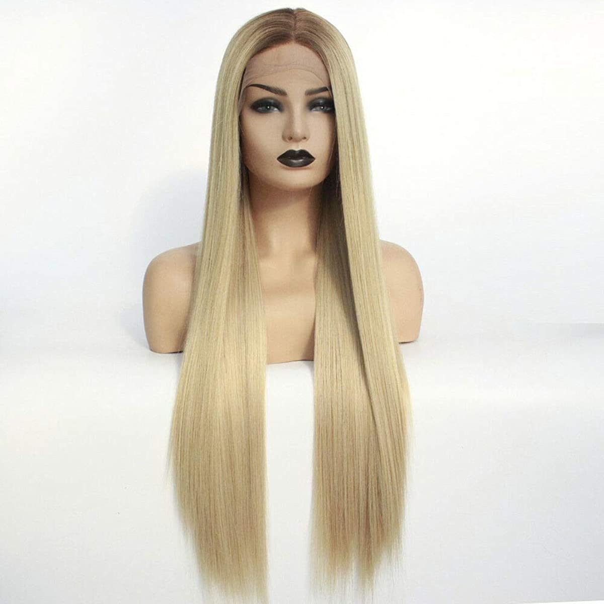 Colorfulwigs Ombre Brown Blonde 613 Synthetic Lace Front Wig for Black Women Long Straight 2T 180% Density Fluffy Natural Heat Resistant Hair Synthetic Hair Wigs (24inch)