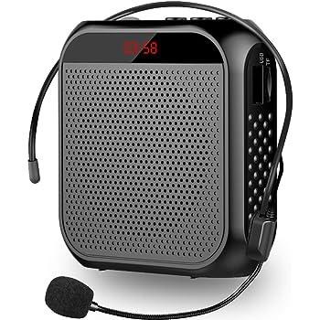 Amplificador de voz, Cintura Amplificador Voz Altavoz Recargable con Micrófono Personal para guía de Viaje guardería/profesores/guías (Negro)