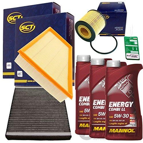 Filter Set Inspektionspaket 3x 1L Mannol Combi LL 5W30 1x Filter, Innenraumluft 1x Oelfilter1x Luftfilter1x Mannol Ölwechselanhänger