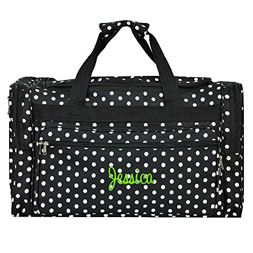 Personalized Black and White Polka Dot Duffle Bag 22 Inch
