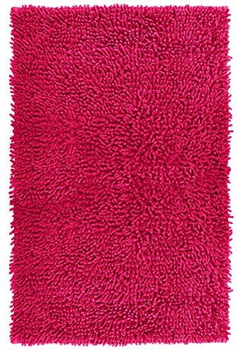 Lashuma Duschvorleger Chenille Pink - Fuchsia, Teppich fürs Badezimmer aus 100% Baumwolle, 50 x 80 cm