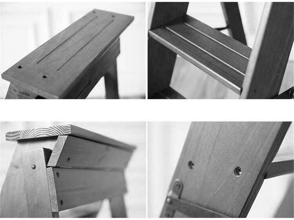 ZHPBHD Tabouret Chaise d'escalier Multi-Fonctions avec 5 marches d'escalier en Bois Massif avec Tabouret Pliant en Bois Massif - 3 Couleurs (Color : Black) White