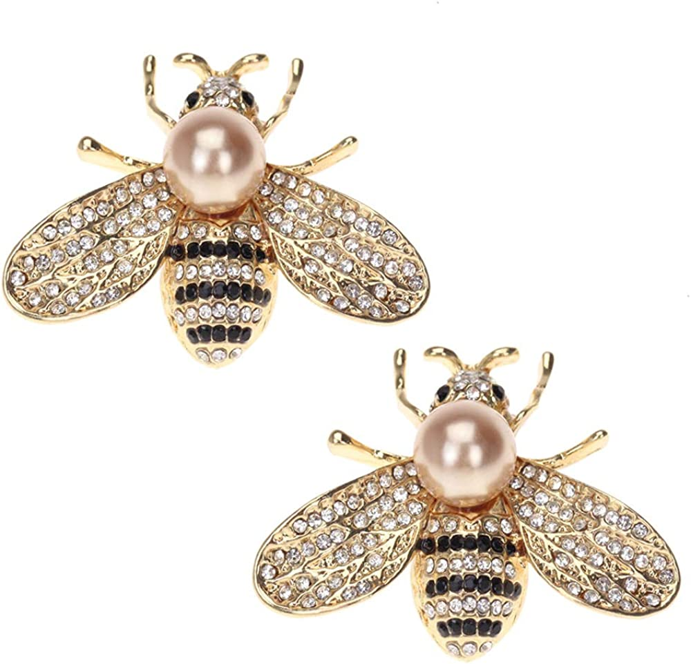 Acxico 2Pcs Cute Alloy Honey Bee Brooches Crystal Pearl Brooch Pin Fashion Coat Sweater Schoolbag Micro Cap Top Lapel Pin