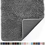 Gorilla Grip Original Indoor Durable Chenille Doormat, 24x17, Absorbent Machine Washable Inside Mats, Low-Profile Rug Doormats for Entry, Mud Room Mat, Back Door, High Traffic Areas, Gray