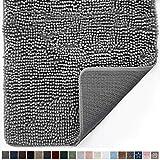 Gorilla Grip Original Indoor Durable Chenille Doormat, 24x17, Absorbent Machine Washable Inside Mats, Low-Profile Rug Doormats for Entry, Mud Room Mat, Back Door, High Traffic Areas, Gray