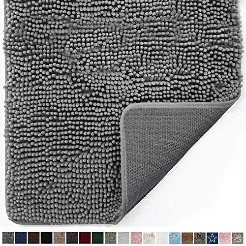 Gorilla Grip Original Indoor Durable Chenille Doormat, 30x20, Absorbent, Machine Washable Inside Mats, Low-Profile Rug Doormats for Entry, Mud Room, Back Door, High Traffic Areas, Gray
