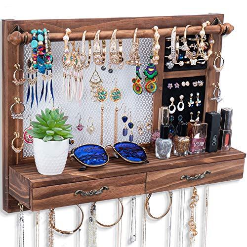 Organizador de joyas rústico para colgar en la pared, organizador de joyas de madera y malla con ganchos estante extraíble barra y cajones para collares, pulseras, pendientes, anillos
