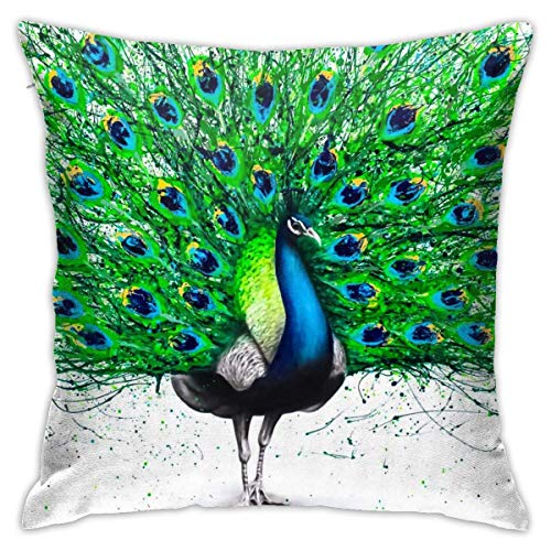 XCNGG Kissenbezug Throw Pillow Covers Modern Decorative Throw Pillow Case Peacock Design Pillow Covers Cushion Case for Room Bedroom Room Sofa Chair Car,18 X 18 Inch
