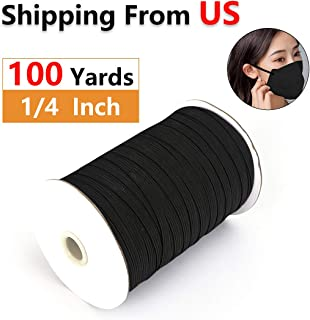 Elastic String for Masks 1/4 Inch 100 Yards Length Elastic Bands for Sewing Braided Elastic Cord/Elastic Band/Elastic Rope/Bungee/Black Heavy Stretch Knit Elastic Spool