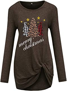 Severkill Women's Christmas T Shirts Casual Solid Long Sleeve Crew Neck Twist Knot Tunics Tops Blouses