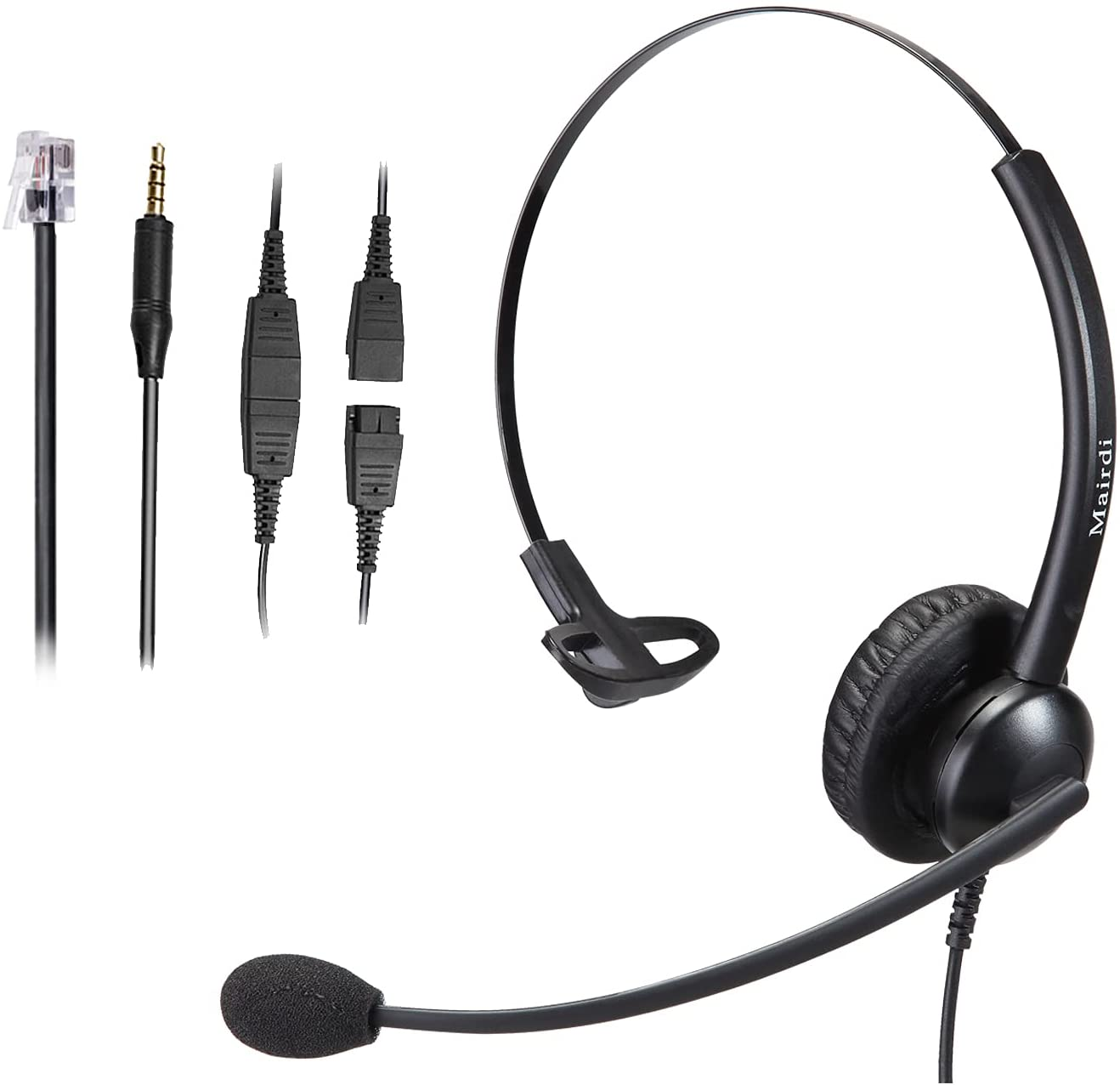 Telephone Headset with RJ9 Jack for Cisco Phone, Including 3.5mm Connector for Cell Phone PC Laptop, Office Headset with Microphone Noise Cancelling for Call Center Landline Deskphone