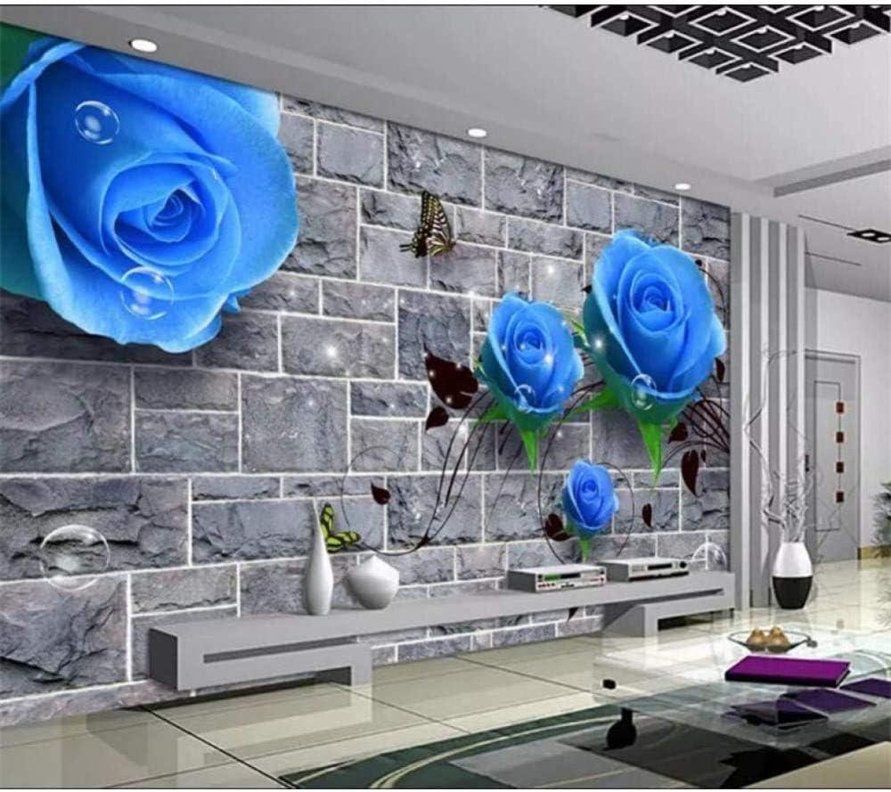RTYUIHN 3D Blue Time sale Brand new Rose Wallpaper Room Living Photo for T