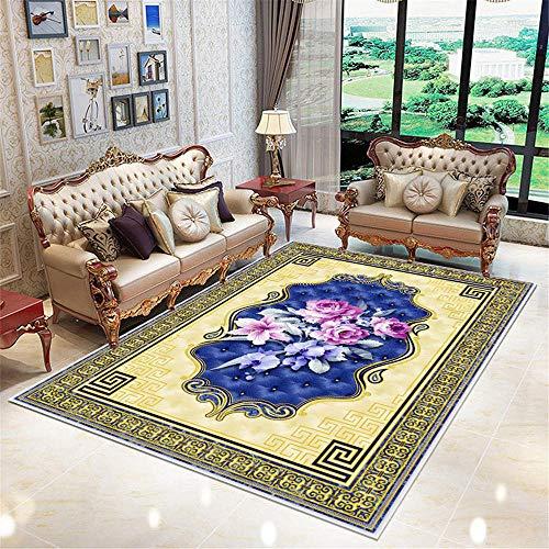 Kunsen sofá Cama Moderno alfombras habitacion Alfombra Rectangular de Sala de Estar Azul Amarillo Azul Duradero Alfombra recibidor 200x300cm 6ft 6.7' X9ft 10.1'